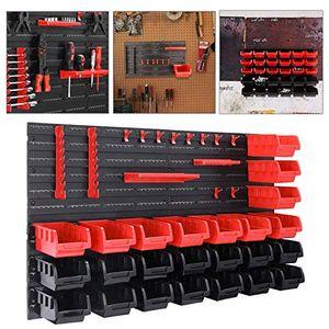 karpal Wandregal mit Stapelboxen und Werkzeughalter, 45 TLG, Schuettenregal, Extra Starke, Erweiterbar, Werkstatt, Haengeregal, Kleinteilemagazin¡