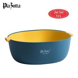 2er Küchen Sieb und Schüssel Set Salatschüssel Seiher Servierschüssel Abtropfsieb 1x Blaugelb L