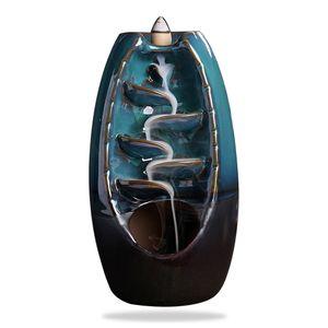 Handicraft Mountain River Weihrauchhalter Keramik Backflow Wasserfall Weihrauch-Brenner Raeuchergefaesshalter Home Table Decor (blau) L