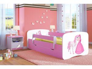 Rosa Kleinkind Mädchen 80x180 80x160 70x140 Kinderbett Pink Prinzessin Pferd Kinder Einzelbett Mit Matratze Und Schublade Inklusive - Prinzessin & Pferd - 160 x 80 cm