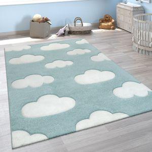 Kinderzimmer Kinderteppich Blau Weiß Pastellfarben Wolken Muster Kurzflor Weich, Grösse:120x170 cm