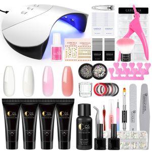 COSCELIA Nagelgel Set MIT 36W UV Lampe, 4 Farben Nagelverlängerung Kit Gelnägel Starter Set +  Base Top Coat, 50pcs Nägel Tips, Komplette Nagelstudio Set