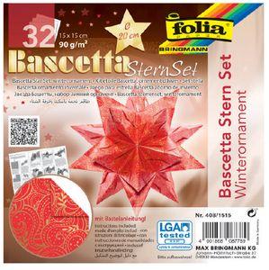 folia Faltblätter Bascetta-Stern 150 x 150 mm 90 g/qm 32 Blatt rot bedruckt