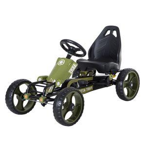 HOMCOM Go Kart Tretauto Tretfahrzeug mit Handbremse ab 3 Jahre Kinder Grün 105 x 54 x 61cm