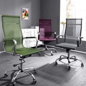 Bürostuhl 'Mesh' Drehstuhl Schreibtischstuhl Chefsessel Lehnstuhl Wippfunktion, Farbe:Rot