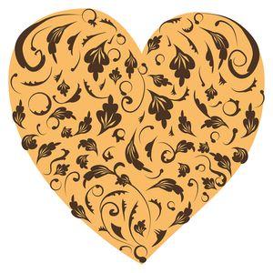 dekodino® Wandtattoo Herz Ornamente Blätter gelb schwarz Wandsticker Dekoration