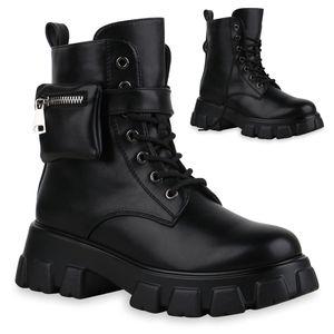 Mytrendshoe Damen Stiefeletten Leicht Gefütterte Plateau Boots Zipper Schuhe 835629, Farbe: Schwarz, Größe: 38