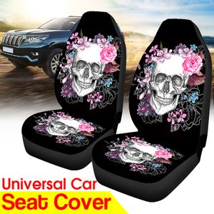 2PCS vorderer Autositzbezug Schädel Blumen Muster Kissenschutz für Van Truck Car
