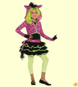Kostüm pinkes Zebra, Neon Party, Gr. 104