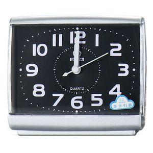 Quadrat Weckeruhren Analog Tischuhr Reisewecker Quarz Funkwecker lautlos Sweep-Uhrwerk Schwarz 11.3*10.5cm
