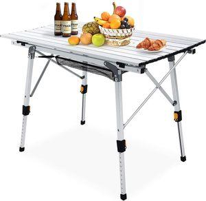 Faltbarer Campingtisch Klapptisch Gartentisch Alles-Aluminium mit Tischdecke Picknicktisch höhenverstellbarer Tischplatte, verwendet für Camping, Garten, Wandern im Freien