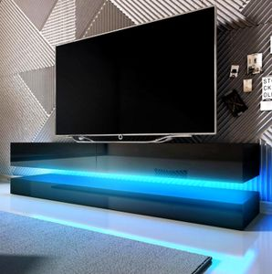 TV-Lowboard Fly in Hochglanz schwarz TV-Unterteil 2-teilig 140 cm Board inkl. LED Beleuchtung
