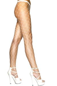 Netzstrumpfhose Strumpfhose großes Netz Karneval Fasching weiß