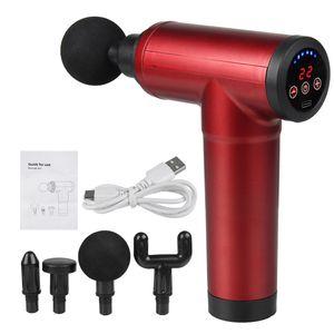 Audew 8000r/min Electric LCD Massage Gun Massagepistole Muskel Massager Massagegerät mit 4 Köpfe Rot