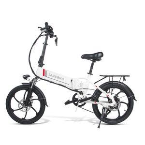 SAMEBIKE 20LVXD30 20 Zoll E-Bike, E Bike Herren, Ebike Mountainbike, Elektrofahrrad, Pedelec——250W/40V,Max 25km/h,Weiß