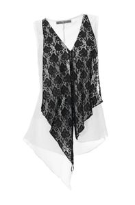 Ashley Brooke Damen Designer-Spitzen-Chiffontop, schwarz-weiß, Größe:38