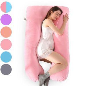 Samt Schwangerschaftskissen 57 Zoll Ganzkörperkissen Komfort U-förmiges Kissen Extra groß (Rosa)
