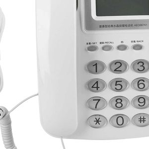 Mllaid LCD-Display Digitales Telefon, Kristalltasten Haushalt Büro Business Telefon Festnetztelefon Ausstattung Weiß