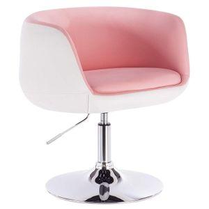 WOLTU Barsessel Clubsessel Loungesessel mit Armlehne Kunstleder 2 farbig rosa+weiß