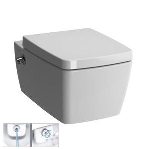 VitrA Metropole (VitrAflush 2.0) VitrA Wand-Tiefspül-WC mit Bidetfunktion ohne Spülrand mit integrierter Armatur   inkl. VitrA Metropole WC-Sitz Absenkautomatik Soft-close   Antibakterielle Oberfläche
