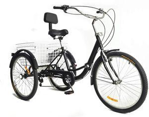 24 Zoll Dreirad Für Erwachsene Fahrrad 7 Gang Dreirad Erwachsenefahrrad Cruise Tricycle Trike Korb Rückenlehne  Lastenfahrrad (Schwarz)