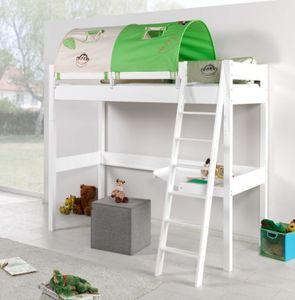 Hochbett RENATE Multifunktionsbett mit Schreibtisch Bett Weiß Stoffset Dschungel