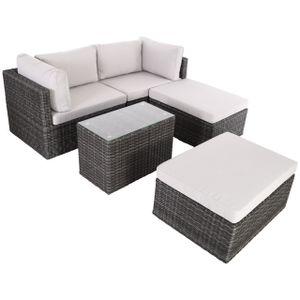 Raburg XXL Gartenlounge ADAN in SCHIEFER-GRAU-MELIERT - 5-tlg. Premium Alu & Poly-Rattan mit Polster-Set in STEIN-HELL-GRAU, Tisch mit Glasplatte, sehr variabel & kompakt, mit Sofa für 2-4 Personen, platzsparend stapelbare Sitzgruppe