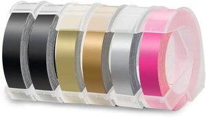6x Uniplus 9mm x 3m Kompatibel 3D Prägeband als Ersatz für Dymo Vinyl-Prägeetiketten Selbstklebend für Dymo Omega S0717930 Etikettenprägegerät Junior S0717900 Prägegerät Motex E-303 E-101 E-202