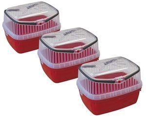 3er Sparpack Transportbox für Kleintiere wie Hamster, Meerschweinchen, Kaninchen usw. 3 x Rot