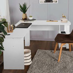 Eckschreibtisch Computer Schreibtisch L-Form Winkelschreibtisch Regal Bürotisch Home Workstation 140x140x74 cm