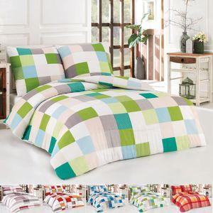 Sommer Baumwolle Renforce Bettwäsche Bettbezug 200x200 2x Kissenbezug 80x80 Kariert in unter. Farben, Farbe:Grün