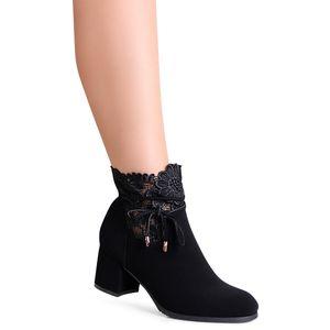 topschuhe24 1940 Damen Velours Stiefeletten Ankle Boots, Farbe:Schwarz, Größe:38 EU