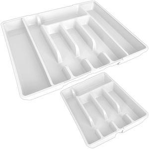 Alpina Besteckkasten ausziehbar Weiß 27-44cm für Schubladen Besteckfach Kunststoff Besteckeinsatz Schubladeneinsatz