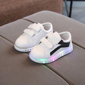 Kinder Kind Baby Mädchen Jungen gestreifte Bling Flat Led Luminous Sport Sneaker Schuhe Größe:23,Farbe:Schwarz
