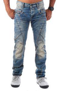 Cipo & Baxx Herren Denim Jeans Hose Vintage Look mit Kontrastnähten Straight Leg Regular Fit C-0894, Grösse:34W / 34L, Farbe:Blau