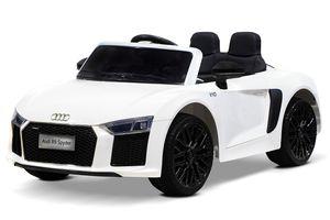 Audi R8 Spyder Kinder Auto Kinder Elektroauto Kinderfahrzeug 12V mit Ledersitz und Gummireifen in Weiß