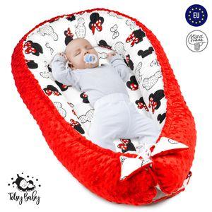 Babynest Nestchen Baby Nest Babynestchen Kokon Kuschelnest für Neugeborene Babybett Liegekissen 90x50 cm Rot mit Mäusen