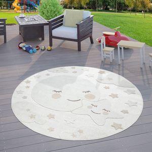 Kinderzimmer Outdoor Teppich Kinder Rund Spielteppich 3D Optik Mond Beige, Größe:Ø 120 cm Rund