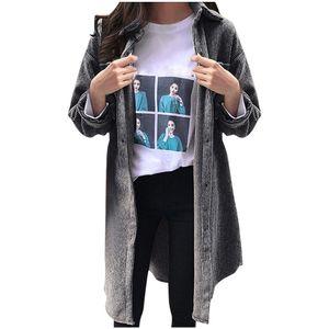 Frauen Winter Cord Damen Damen Turn-Down Kragen Mantel Outwear lange Strickjacke Größe:XXXL,Farbe:Grau