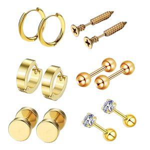 6 Paar Ohrstecker Curve Barbell Edelstahl Helix Piercing Ohrschmuck Gold wie beschrieben