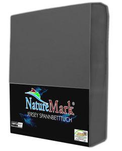 NatureMark JERSEY Spannbettlaken, Spannbetttuch 100% Baumwolle | 200x220 cm +40 STEG - anthrazit grau