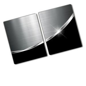Tulup® Glas Herdabdeckplatte - 2x40x52 cm - Ceranfeldabdeckung Spritzschutz Glasabdeckplatte Kochplattenabdeckung und Schneidebrett - Einteilig  - Material-Textur - Metall Schwarz - Silber