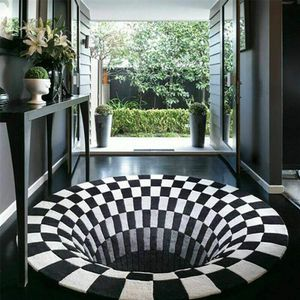 120*120cm Illusions Teppich Anti-slip 3D Visual Runde Für Schlafzimmer Wohnzimmer