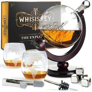 Whisiskey® Whisky Karaffe - Globus - Komplette Whiskey Set - 900ML – Inkl. 4 Edelstahle Whisky Steine, 2 Whisky Gläser & Ausgießer - Whisky Dekanter - Geschenke für Männer – Whiskygläser