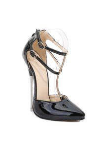 Abtel Damen Sandalen Knöchelriemen Dünne High Heels Pointed Toe,Farbe:Schwarz,Größe:35
