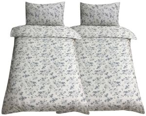 Bettwäsche 140x200 + 70x90 cm Baumwolle Blumen beige grau mit Reißverschluss, 4-tlg