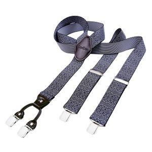 DonDon Herren Hosenträger 3,5 cm breit 4 Clips mit braunem Leder in Y-Form elastisch und längenverstellbar schwarz weiß gemustert