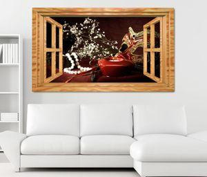 3D Wandtattoo Maske Boudoir retro Stillleben Fenster Wandbild Tattoo Wohnzimmer Wand Aufkleber 11L1860, Wandbild Größe F:ca. 97cmx57cm