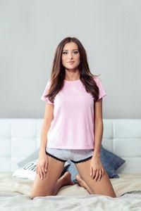 Schlafshirt - Klassisches T-Shirt mit Katzendruck - Größe: M - Bonamera