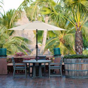 SONGMICS Sonnenschirm 200 cm, knickbar, UV-Schutz bis UPF 50+, Marktschirm, Gartenschirm, Schirmmast und Schirmrippen aus Metall, ohne Ständer, beige GPU202M01